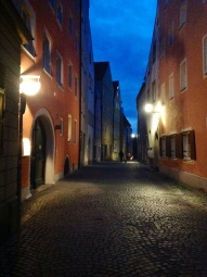 Cobbled streets , dark and mysterious, hidden secrets. Regensburg, Germany